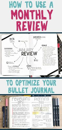 Bullet journal monthly review- is this a bujo layout you need to start using? Yes! This amazing and inspirational bullet journal spread will help you improve your life and optimize your bullet journal so it's better than ever! Learn how to start a bullet journal monthly review today. Epic planner organization you can't miss out on! #bulletjournal #bujo #monthlyreview #timemanagement