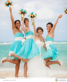 Love the bridesmaids dresses, but I would like a brown sash