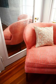 Pelham collaboration / John Robshaw's Aleppo in Coral, a hand-blocked fabric made in India.