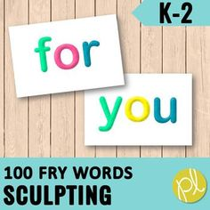 "Sculpt sight words with 100 Fry Word Dough Mats!These half-page sight word cards are perfect for busy hands to build sight words one colorful letter at a time!We liked to use these for ""Fun Friday"" free choice literacy centers or these student-friendly cards can be display on the word wall.There are..."