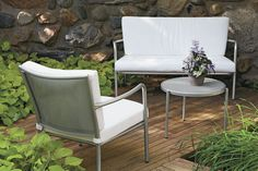 Selena Chair with Cushions - Chairs & Chaises - Outdoor - Room & Board Front Porch Furniture, Outdoor Furniture Sets, Outdoor Rooms, Outdoor Chairs, Outdoor Decor, Small City Garden, Modern Patio, Ottoman Bench, Sectional Sofa
