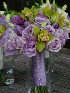 lavender green bouquet by squishlee...I'd like this without the green flower and adding white roses...