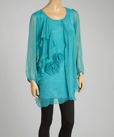 Another great find on #zulily! Turquoise Rosette Silk-Blend Shift Tunic by Pretty Angel #zulilyfinds