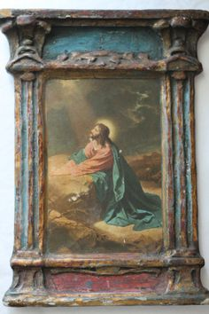 1920's Gesso Duro Craft Plaque Christ in Gethsemanie by hibrink