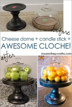 Turn a basic cheese dome and a discarded candle stick into a beautiful original cloche!houseofhepwor… Turn a basic cheese dome and a discarded candle stick into a beautiful original cloche!