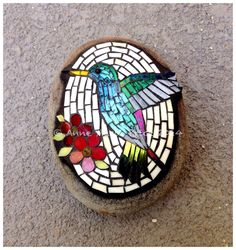 Hummingbird mosaic on rock by Anne Marie Price #hummingbird #mosaic #rock #AMP #AnneMariePrice