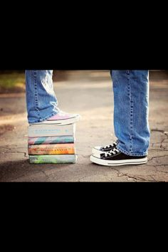 Maybe not books but I like the idea of a photo of our feet with me standing on something to make me taller