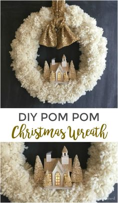 DIY pom pom wreath t