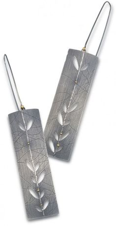 Pretty, etched silver earrings, Jamie Cassavoy | Maxs