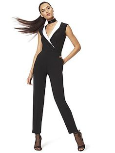 Shop Collared Jumpsuit - Black & White. Find your perfect size online at the best price at New York & Company.