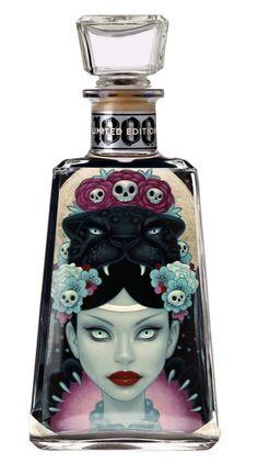 Tara McPherson designed bottle for 1800 Tequila Tequila Bottles, Alcohol Bottles, Liquor Bottles, Drink Bottles, Perfume Bottles, Absolut Vodka, Tequila 1800, Bottle Design, Beer Bottle