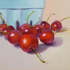 Cherry Season by Gema Lopez Fruit And Veg, Fruits And Vegetables, Cherry Season, Fine Art Auctions, Fine Art Gallery, Art For Sale, Still Life, Berries, Paintings