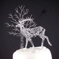 Acrylic Set of 2: 1 doe and 1 tree cake topper with lace etching