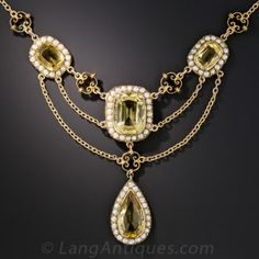Victorian Citrine and Seed Pearl Festoon Necklace