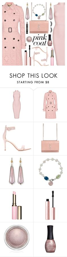 """Pretty Pink Coat"" by deborah-calton ❤ liked on Polyvore featuring Posh Girl, Burberry, Gianvito Rossi, Yves Saint Laurent, Konstantino, NOVICA, Clarins, Too Faced Cosmetics, MAC Cosmetics and ORLY"