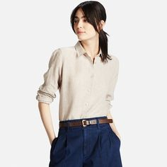 WOMEN Premium Linen Long Sleeve Shirt | UNIQLO