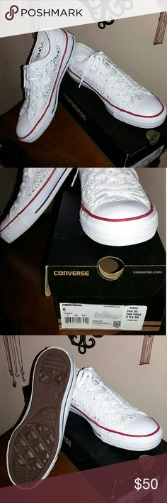 Converse eyelet lace...sz 8 Converse eyelet lace Chuck Taylors...new without tags...with box...wore around my house for about an hour...ADORABLE shoes!! Converse Shoes Sneakers