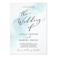 Watercolor Wash Blue The Wedding Of Invite with a simple splash of pastel light blue water color with elegant and classic style. Click to customize with your personalized details today.
