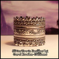 Wide Band Sterling Silver Ring Cigar Band Victorian by SilverTrove