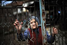 A woman looks through the gate of her house in the village of Chichil, in Bulgaria's northwestern region. (Dimitar Dilkoff/AFP/Getty Images)
