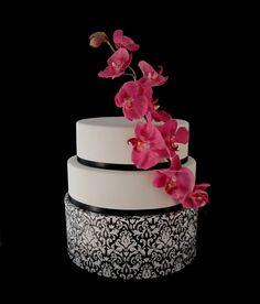 Fondant Wedding Cake Black White Pink Damask Orchid Lexington KY ...