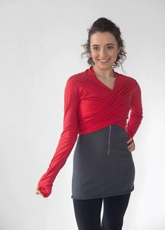 Red Infinity Shrug wrapped in front. 92% Viscose 8% Spandex. Made in USA. $75.00 www.jqlovesu.com