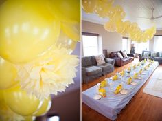 Balloon Garland!  Put a penny inside before you blow it up so it hangs better!