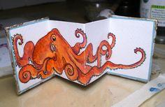Orange octopus handmade book by Ruth Bleakley