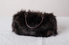 Faux fur purse small brown handbag women's winter by VilRaVintage