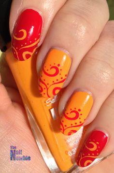 Nail Newbie: Tri Polish Challenge Red, Orange and Yellow #3 - swirly stamping