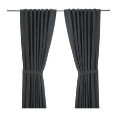 "IKEA RITVA Curtains Drapes 2 panels w/ tie-backs Light filtering  118 "" Gray NIP"