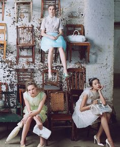 """""""A man for all seasons""""; Sara Blomqvist, Anais Pouliot and Xiao Wen Ju photographed by Annie Leibovitz for US Vogue"""