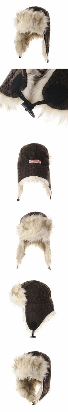 WITHMOONS Ear Flap Cap Trapper Hat Knitted Twisted Cable Beanie Trooper AC7142 (Brown)