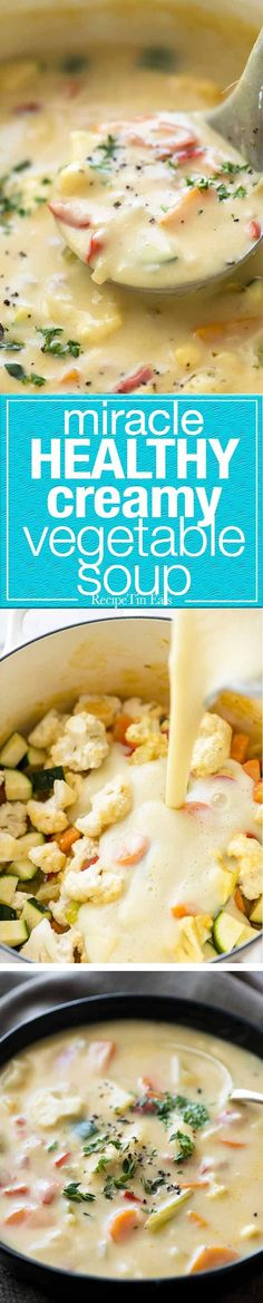 It's a miracle - this creamy soup is super low cal, low carb, gluten free and unbelievably tasty. The secret: peeled zucchini, cauliflower, onion and garlic cooked then pureed. Imagine the possibilities!