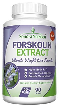 Forskolin Extract Ultimate Weight Loss Formula – 250 mg at 20% for 50 mg Active Forskolin -­ 90 Capsules/45 Day Supply
