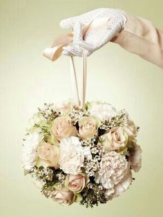 Wedding Pomander Features: Champagne Roses (Sahara or Quicksand?), White Carnations, White Waxflower