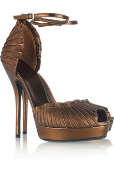 Gucci, Plissé-leather sandals. Wow. Just....wow