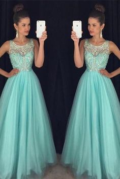 Mint Green Prom Dresses,Elegant Evening Dresses,Long Formal Gowns,Beaded Party Dresses,Chiffon Pageant Formal Dress,Backless Prom Dress