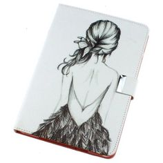 Flip Man Made Leather Sketch Figure Girl White Case Cover Stand Pouch for Apple IPad 2 3 4 Match flower hanger Ipad Mini Cases, Ipad Mini 2, Girl Cases, Colors And Emotions, New Ipad, Apple Products, Ipad Air, Apple Ipad, Computer Accessories