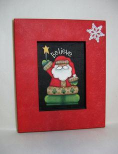 Santa with Star and Believe Folk Art by barbsheartstrokes on Etsy, $23.00