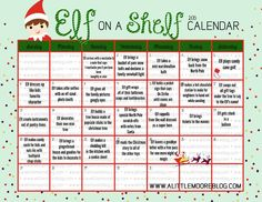 2015 Elf on the Shelf Calendar (also links to calendars for previous years, all with different ideas)