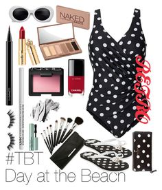 """""""Retro day at the beach"""" by illstayawake ❤ liked on Polyvore featuring Urban Decay, Chanel, NARS Cosmetics, MAC Cosmetics, NYX, Bobbi Brown Cosmetics, Violet Voss, Too Faced Cosmetics and Kate Spade"""