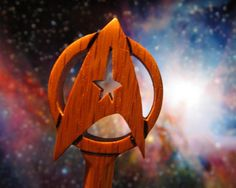 Hair Stick Starfleet Command Insignia in Oak by AKCWoodworking Hair Sticks, Stick It Out, Scroll Saw, Image Shows, Solid Oak, Star Trek, Things To Think About, Exotic, Pride