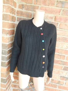 GARNET HILL Asymmetrical Cardigan Size S Lambswool Blend Sweater Top Black #GarnetHill #Cardigan