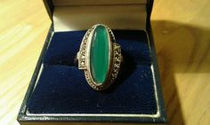 Super quality Sterling silver ring, marquise shaped chrysoprase/ chalcedony green agate stone facet cut at the sides with marcasite stones offset at the sides in an usual way A real statement ring Approximately - Size 0 3/4 to P Stone size per photo Stamped STERLING Lovely condition Thanks for viewing Sending small parcel as to deep for large letter Unable to post 21st or 22nd August | eBay!