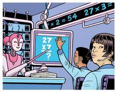 RoboTeacher illo for Anne Lutz Fernandez' SCHOOLED, March 2016.