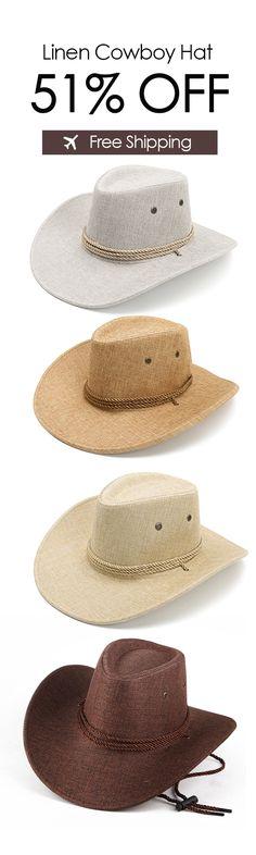 Men Women Western Cowboy Hat Outdoor Wide Brim Linen Hat with Strap Western  Cowboy Hats c964bbcfb7cb