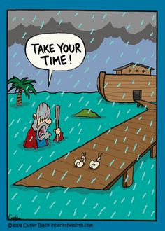 "Noah's Ark - Faith Humor from ""What's That Funny Look on Your Faith?:Inherit the Mirth"" by Cuyler Black Christian Comics, Christian Jokes, Christian Cartoons, Haha Funny, Funny Cute, Funny Jokes, Hilarious, Funny Cartoons, Funny Comics"