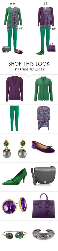 """""""Halloween Capsule - Print Tunic and Green Jeans 2"""" by tracy-gowen ❤ liked on Polyvore featuring Full Tilt, Viyella, AG Adriano Goldschmied, Nine West, Victoria Beckham, Marco Bicego, Yves Saint Laurent, Plukka and Alexis Bittar"""