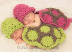 Twin Newborn Cuddle Critter Cape Set - Hatchling Turtle Cape Set - Baby Crochet Hat - Photo Prop - Crochet Turtle - Baby Boy & Girl Set. $59.98, via Etsy.